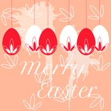 Vector colorful easter eggs hanging on pearl beads Royalty Free Stock Photo