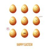 Vector colorful eggs. Vector illustration. Easter template design for greeting and invitation cards. Abstract 3D shape. Gold egg. Cute vector characters Royalty Free Stock Images