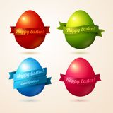 Vector colorful eggs with ribbons and place for. Vector illustration. Easter template design for greeting and invitation cards. Abstract 3D shape Stock Photos