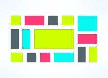 Vector colorful embedded frames set. Sunken Stock Photo