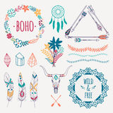Vector colorful ethnic set with arrows, feathers, crystals. Floral frames, borders, dream catcher, bull skull. Modern romantic boho style. Templates for vector illustration