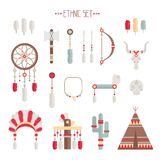 Vector colorful ethnic set with dream catcher, Royalty Free Stock Images