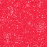 Vector colorful festive seamless pattern for holidays. White and red background with fireworks Royalty Free Stock Photos