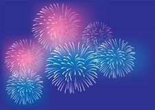 Vector Colorful Fireworks Background Celebration And Party Concept. Vector illustration of colorful fireworks celebration party background 4th of July New Year`s Royalty Free Stock Photo