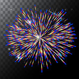 Vector  colorful fireworks on a transparent background. EPS Royalty Free Stock Images