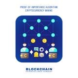 Blockchain distributed ledger technology illustration. Vector colorful flat design proof of importance algorithm cryptocurrency POI mining principle explain Stock Image