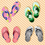 Vector colorful flip flops Stock Photos