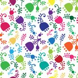 Vector colorful floral cartoon seamless background Royalty Free Stock Image