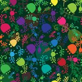 Vector colorful floral cartoon seamless background Stock Photo