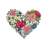 Vector colorful floral heart for Valentines Day Stock Images