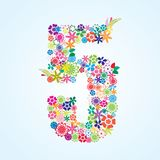Vector Colorful Floral 5 Number Design isolated on white background. Floral Number Five Typeface vector illustration