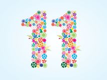 Vector Colorful Floral 11 Number Design isolated on white background. Floral Number Eleven Typeface royalty free illustration