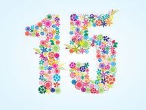 Vector Colorful Floral 15 Number Design isolated on white background. Floral Number Fifteen Typeface. Vector Colorful Floral 15 Number Design isolated on white stock illustration