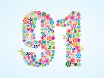 Vector Colorful Floral 91 Number Design isolated on white background. Floral Number Ninety One Typeface. Vector Colorful Floral 91 Number Design isolated on stock illustration