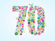 Vector Colorful Floral 70 Number Design isolated on white background. Floral Number Seventy Typeface. Vector Colorful Floral 70 Number Design isolated on white royalty free illustration
