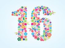 Vector Colorful Floral 16 Number Design isolated on white background. Floral Number Sixteen Typeface. Vector Colorful Floral 16 Number Design isolated on white vector illustration