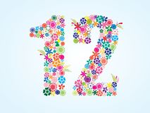 Vector Colorful Floral 12 Number Design isolated on white background. Floral Number Twelve Typeface vector illustration