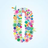 Vector Colorful Floral 0 Number Design isolated on white background. Floral Number Zero Typeface vector illustration