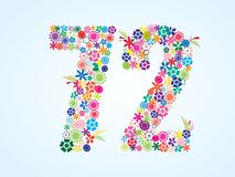 Vector Colorful Floral 72 Number Design isolated on white background. Floral Number Seventy Two Typeface. Vector Colorful Floral 72 Number Design isolated on stock illustration