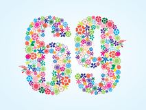 Vector Colorful Floral 69 Number Design isolated on white background. Floral Number Sixty Nine Typeface royalty free illustration