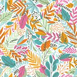 Vector colorful floral seamless pattern with exotic leaves stock illustration