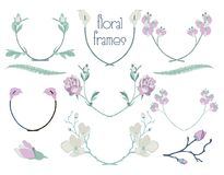 Vector Colorful Floral Text Frames, Branches, Laurels. Colorful Hand Drawn Floral Text Framess with Branches, Herbs, Plants and Flowers. Decorative Outlined Stock Photos