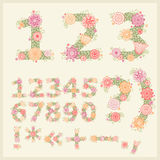 Vector colorful flower font. Royalty Free Stock Photos