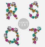 Vector colorful flower font Royalty Free Stock Images