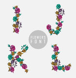 Vector colorful flower font. Can be used banners, invitation, congratulation or website layout vector royalty free illustration