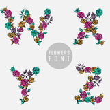 Vector colorful flower font Stock Photos