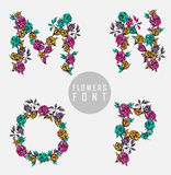 Vector colorful flower font Royalty Free Stock Photo