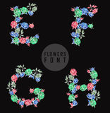 Vector colorful flower font. Can be used banners, invitation, congratulation or website layout vector stock illustration