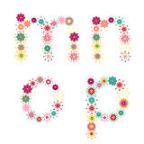 Vector colorful flower font. Vector colorful spring flower font stock illustration