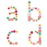 Vector colorful flower font. Vector colorful spring flower font vector illustration