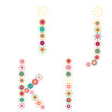 Vector colorful flower font. Royalty Free Stock Images