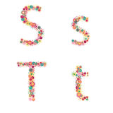 Vector colorful flower font. Royalty Free Stock Image