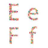 Vector colorful flower font. Royalty Free Stock Photo