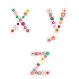Vector colorful flower font. Vector colorful spring flower font royalty free illustration