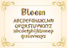 Vector colorful flower font. Vector illustration. Grotesque style. Floral alphabet stock illustration