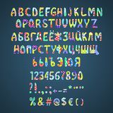 Vector colorful flower patchwork font Stock Images