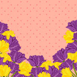 Vector colorful flower tulips on vintage background Stock Photos