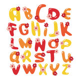 Vector colorful flowers font alphabet. Vector yellow, orange and red font alphabet with flowers Royalty Free Stock Image
