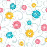 Vector Colorful Flowers on Swirly Braches Seamless Stock Images