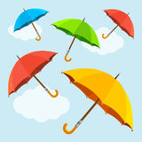 Vector colorful  fly, soaring umbrellas background Stock Images