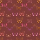 Vector pink, magenta, yellow flying butterflies seamless pattern on maroon background. Vector colorful flying butterflies seamless pattern background. Perfect stock illustration