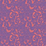 Vector living coral flying butterflies seamless pattern on magenta background. Vector colorful flying butterflies seamless pattern background. Perfect for royalty free illustration