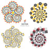 Vector colorful fractal ornament set Royalty Free Stock Image
