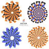 Vector colorful fractal ornament set Royalty Free Stock Images