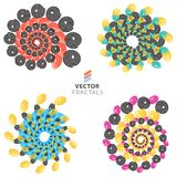 Vector colorful fractal ornament set Stock Photography