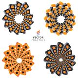 Vector colorful fractal ornament set Royalty Free Stock Photography